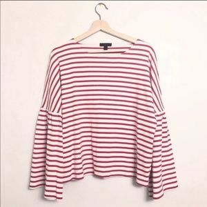 J. Crew Red & White Striped Bell Sleeve Top Sz:M